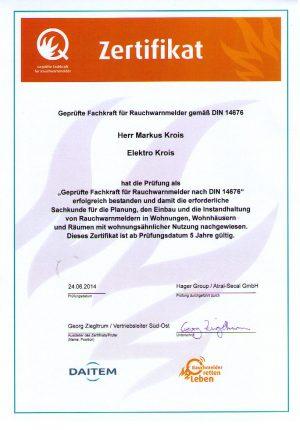 Zertifikat Markus Krois